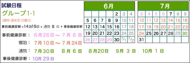 宿泊:7月10日~24日、通院:7月30日、8月6日、20日、9月3日、10月1日、事後健康診断:10月29日