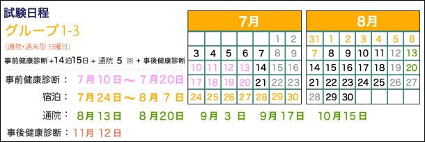 Gr1-3、宿泊:7月24日~8月7日、通院:8月13日、20日、9月3日、17日、10月15日、事後健康診断:11月12日