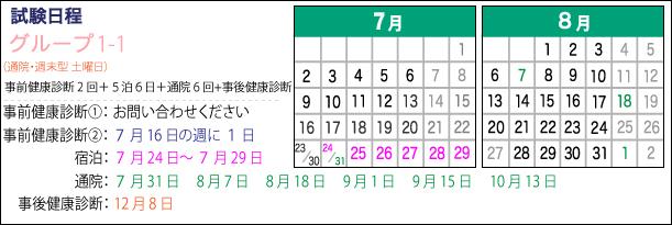 宿泊期間:7月24日~29日、通院期間:7月31日、8月7日、18日、9月1日、15日、10月13日、事後健康診断12月8日