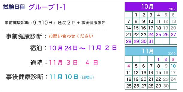宿泊:10月24日~11月2日、通院期間:11月3日、4日、事後健康診断:11月10日